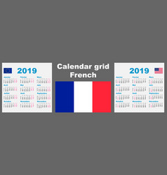 Calendar french france 2019 set grid wall iso vector