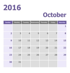 Calendar October 2016 week starts from Sunday vector image
