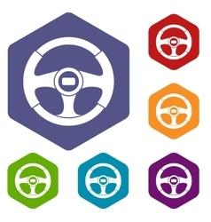 Car steering wheel icons set vector