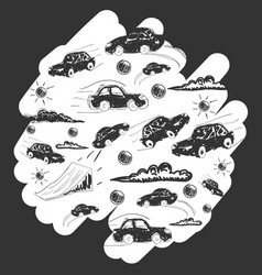 cars in a circle icons set transport vector image