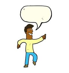 Cartoon grinning man with speech bubble vector