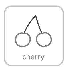 cherry icon gray cherries outline flat berry vector image