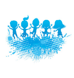 children jumping and splashing water vector image