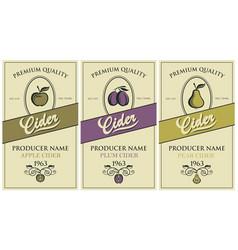 cider labels set vector image