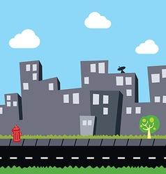 City view flat cartoon theme vector