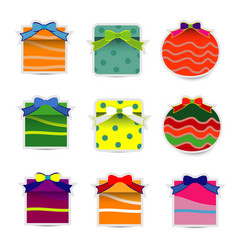 Collection gift box with bow vector