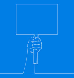 continuous line hand holding an empty signboard vector image