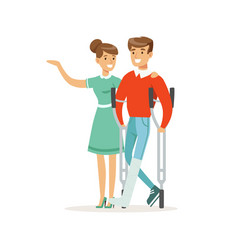 Couple of young people man with broken leg vector