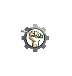 Creative mechanic gear hand screwdriver logo vector