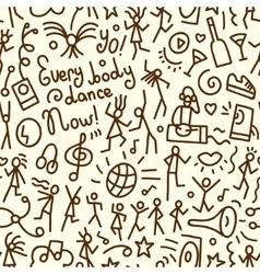Dancing people seamless pattern vector