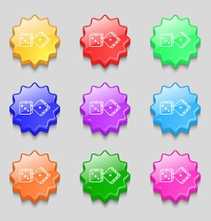 Dices icon sign symbol on nine wavy colourful vector