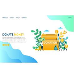 Donate money website landing page design vector