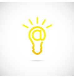 E-mail Sign Light Bulb Concept Symbol Icon or Logo vector image