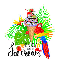 Enjoy summer ice cream vector