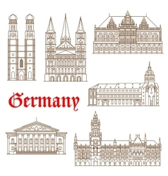 Famous landmarks of german architecture icon vector
