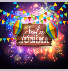 festa junina with flags and paper vector image
