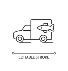 Fish transporting linear icon vector