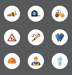 flat icons hardhat caution pneumatic and other vector image vector image
