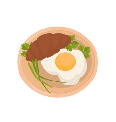 fried egg croissant parsley and fresh green vector image