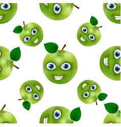 funny and cute green apple cartoon mascot vector image