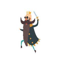 Funny king character running with sword cartoon vector