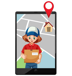 girl delivery package icon on lablet vector image