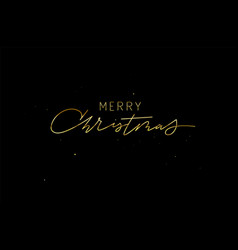 gold and glitter merry christmas greeting card vector image