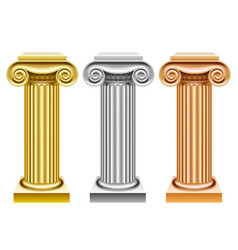 gold silver and bronze ancient columns vector image