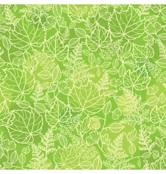 Green leaves lineart texture seamless pattern vector image