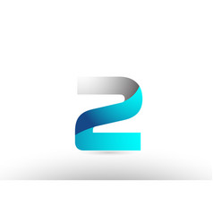 Grey blue number 2 two logo 3d design vector