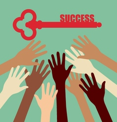 Group of Diversity Hand Reaching Key Success vector image