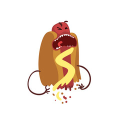 half of hot dog screaming with horror humanized vector image