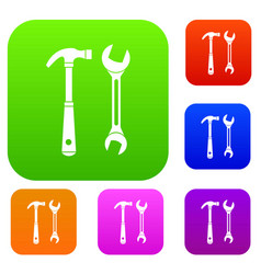 hammer and wrench set collection vector image