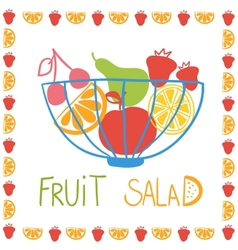 Hand drawn fruit in bowl vector image