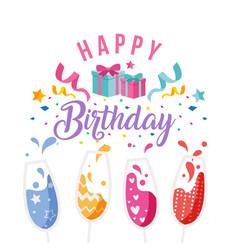 Happy birthday wine glass gift box ribbon backgrou vector