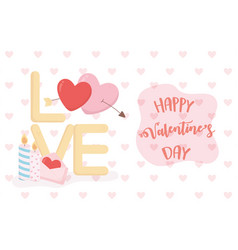 happy valentines day love hearts arrow candle vector image