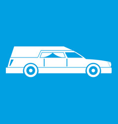 Hearse icon white vector
