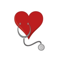 Heart cartoon and stethoscope icon vector
