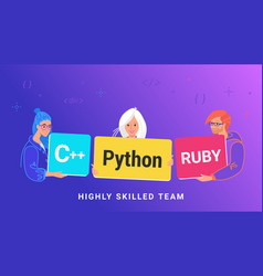 highly skilled team young programmers vector image