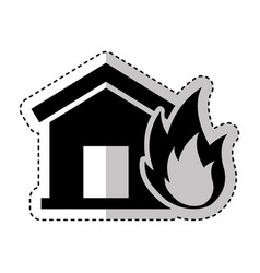 house insurance with fire isolated icon vector image
