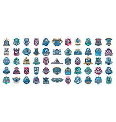 huge set colorful sports logos emblems vector image