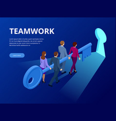 isometric business success key concept business vector image