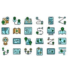 Itinerary icons set flat vector