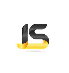 Joined or connected js j s yellow black alphabet vector