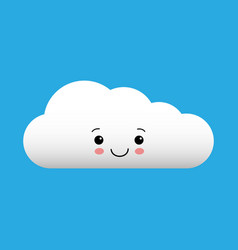 kawaii cartoon white cloud cute vector image