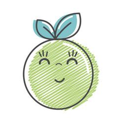 Kawaii nice happy orange fruit vector
