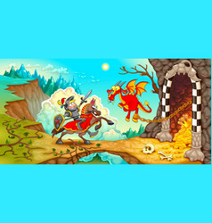 knight fighting the dragon with treasure in a vector image