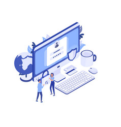 large computer with access window on screen pair vector image