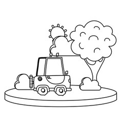 line agrimotor car in the city with tree and sun vector image