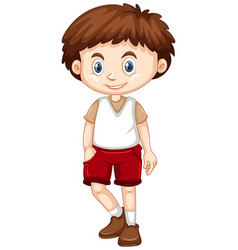 Little boy wearing red shorts vector